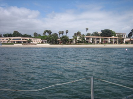 View of Hilton Resort on Mission Bay from sailboat