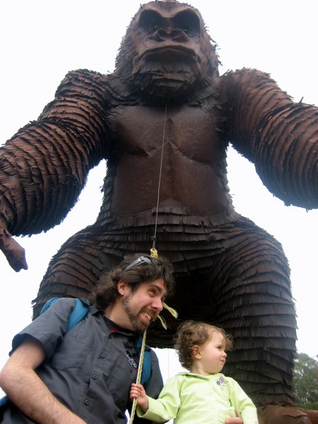 Izzy, Mitch and the giant metal gorilla